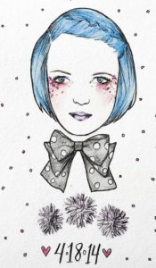 blue hair bow aurora lady