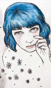 blue hair crying glitter aurora lady